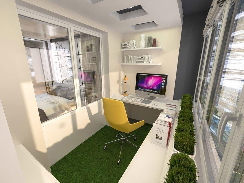 Идеи дизайна рабочего кабинета на лоджии.
