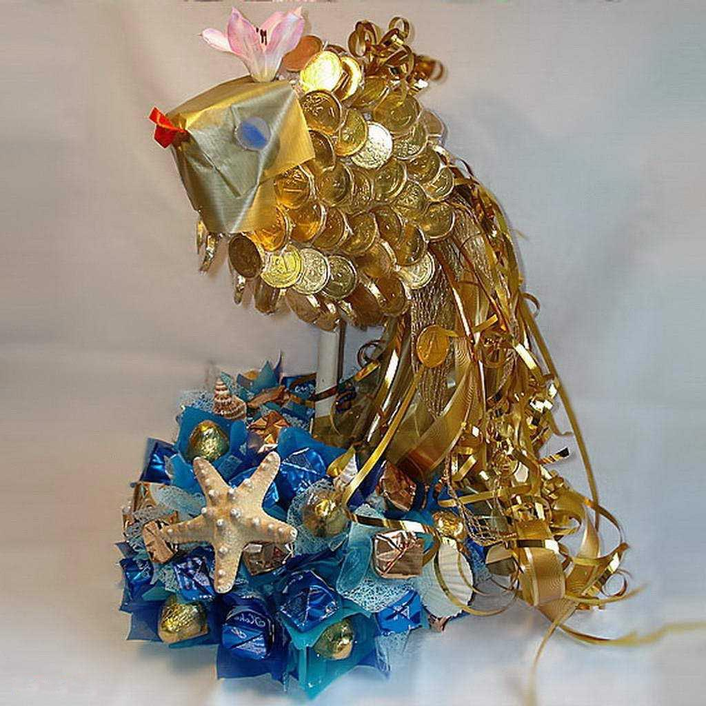 Золотая рыбка из конфет своими руками пошаговое фото для начинающих 35