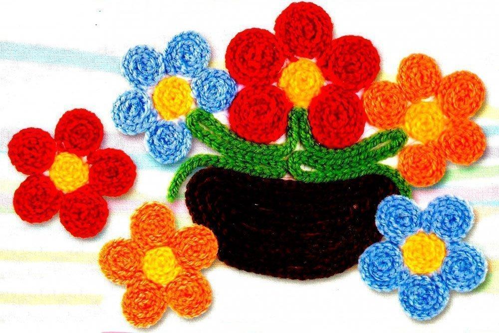 Вязание крючком аппликация цветы 68