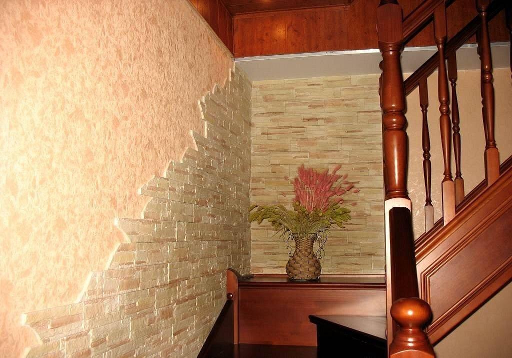 Искусственный камень и декоративная штукатурка в интерьере фото